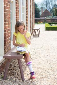 "Elisabeth doing her ""kids adventure map"" in the Lower Garden"