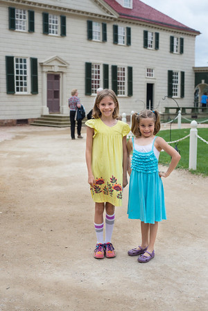 E and C in front of the entrance to Mt. Vernon
