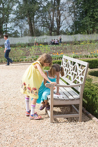 """E helping C with her """"kids adventure map"""" in the lower garden"""