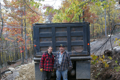 Here I am with Skeeter, the shale delivery guy.  I told him gray flannel is lame.  Red is where it's at.