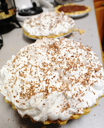 Globe/T. Rob Brown A couple completed french silk pie made for the Fall Fiasco Pie Sale recently.