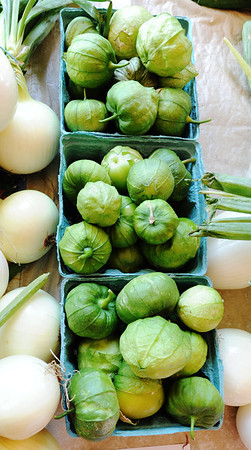 Globe/T. Rob Brown Tomatillos at the Fredrickson Farms, of Carl Junction, booth Friday morning, June 29, 2012, at the Webb City Farmers' Market.