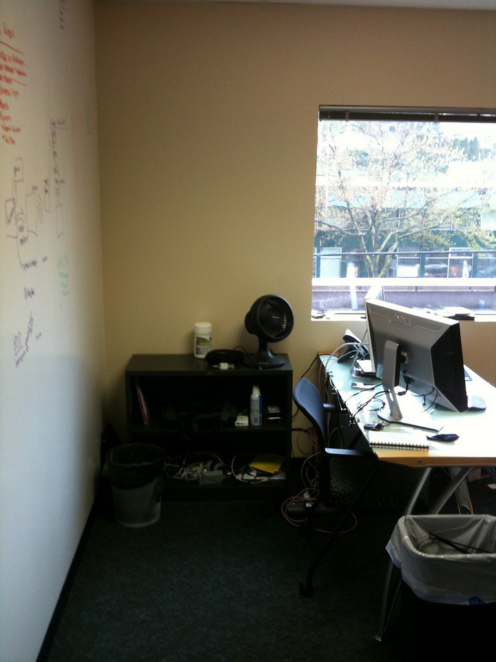A picture of my office from the doorway, it could use some cable management