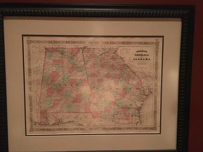 Georgia and Alabama map. Nicely framed.
