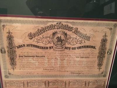 Detail of $1000 Confederate war bond.