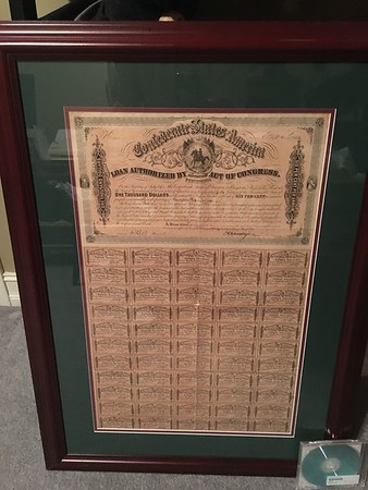 Confederate $1000 war bond.