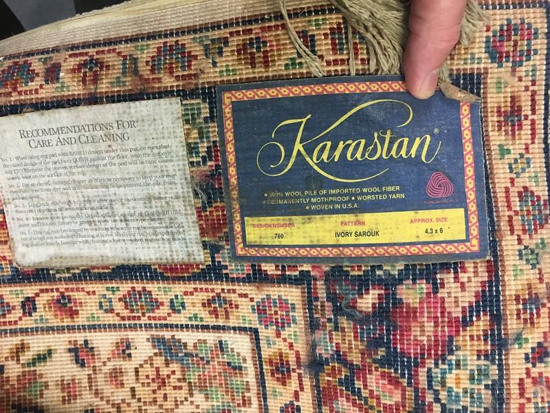 Karastan rug label.