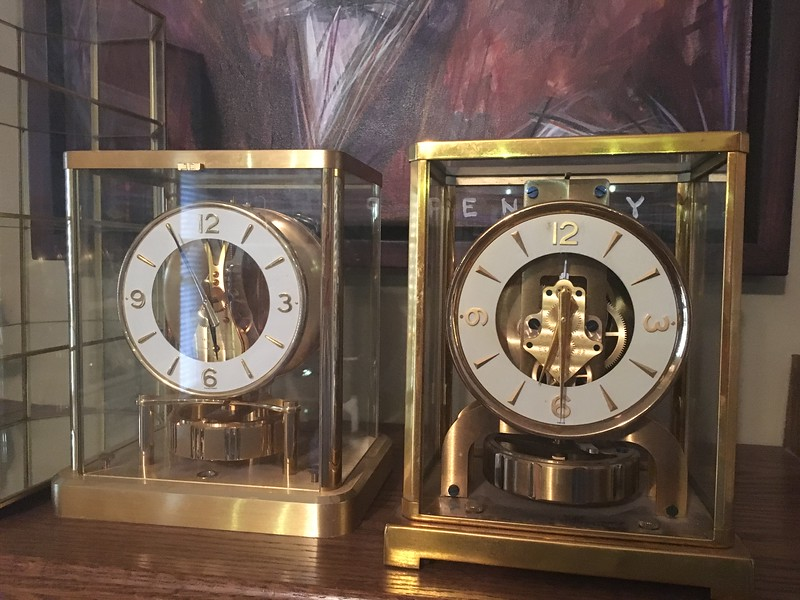 Jaeger-LeCoultre ATMOS clocks. Both worked last time I checked. One is missing a glass panel, easily replaced.