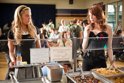 """Amanda Bynes as """"Marianne"""" and Emma Stone as """"Olive Penderghast"""" in Screen Gem's EASY A."""