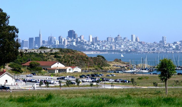 View from the Farley Bar and Restaurant, Cavalo Point Resort looking out at the skyline of San Francisco.