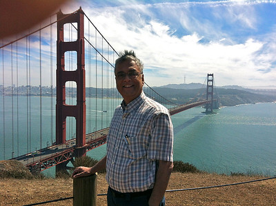 Mr. Kumar in front of the Golden Gate Bridge from the Sausalito side of the bridge, September 21, 2012.