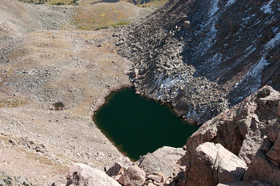 I decided to look over the edge and found this emerald green lake. I didn't look over for long.