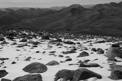 The snowfield in B&W. Almost looks like a moonscape.