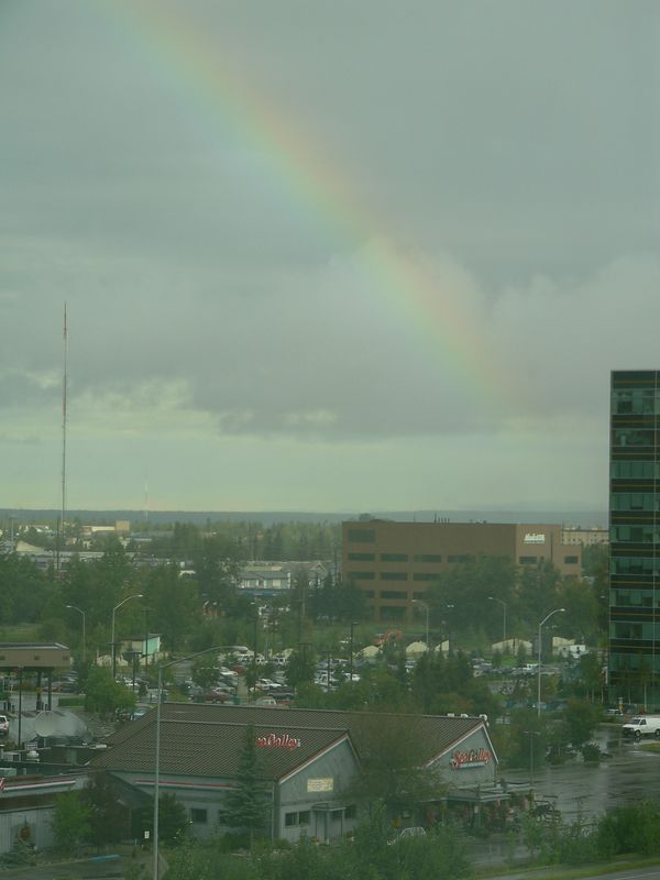 Rainbow over the Sea Galley in Anchorage (taken from my office on the 6th floor of the Alaska Energy Bldg. two days before heading north to Denali National Park for Labor Day weekend)
