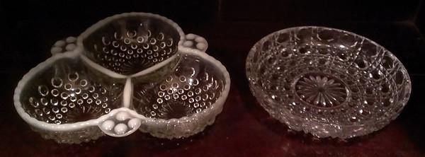 Hobnail bowl and crystal bowl