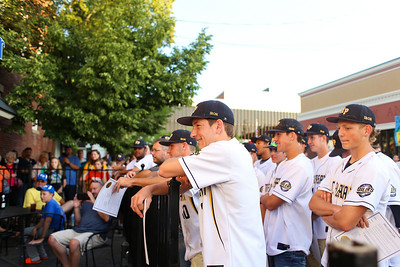 Ken Kadwell/@KenKadwell - Special to the Sun A large turnout celebrates the Mt. Pleasant Oiler's Division 2 state champion baseball team Thursday, June 19, 2014.  The Oilers finished the season with a record of 32-8-1.