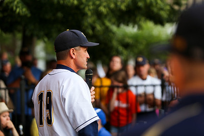 Ken Kadwell/@KenKadwell - Special to the Sun Mt. Pleasant baseball's head coach Luke Epple says a few words in celebration of the Oiler's Division 2 state champion baseball team Thursday, June 19, 2014.  The Oilers finished the season with a record of 32-8-1.