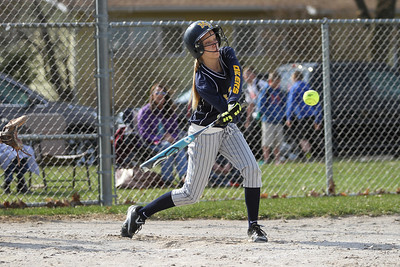 Ken Kadwell/@KenKadwell - Special to the Sun Mt. Pleasant Oiler Tori Wilson (8) takes a swing against Bay City Central  at Mt. Pleasant Thursday, April 17, 2014.
