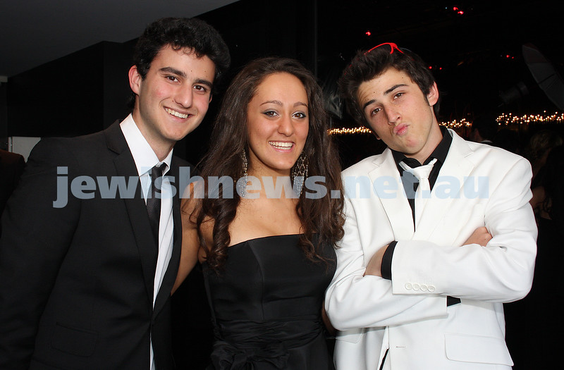 24/11/09. Mt Scopus Graduation Ball 2009. From left: Brandon Alter, Natasha Abrahams, Greg Sacks. Photo: Peter Haskin