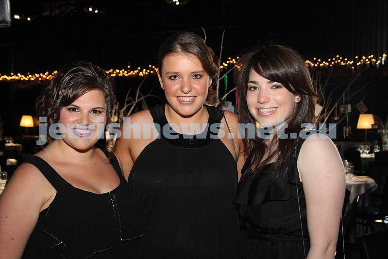 24/11/09. Mt Scopus Graduation Ball 2009.From left: Dani  Leifer, Jessica Palti, Elly Mainzer.  Photo: Peter Haskin