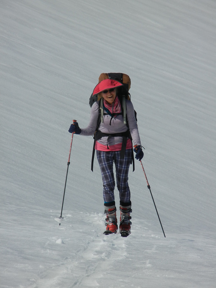Kathy Kohberger on the east side of Mt Shasta (Clear Creek).  Stylish isn't she?!?!?!
