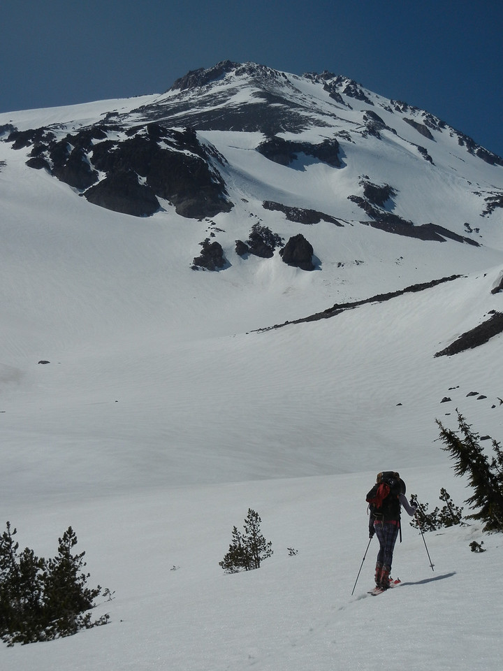 Climbing the east side of Shasta.