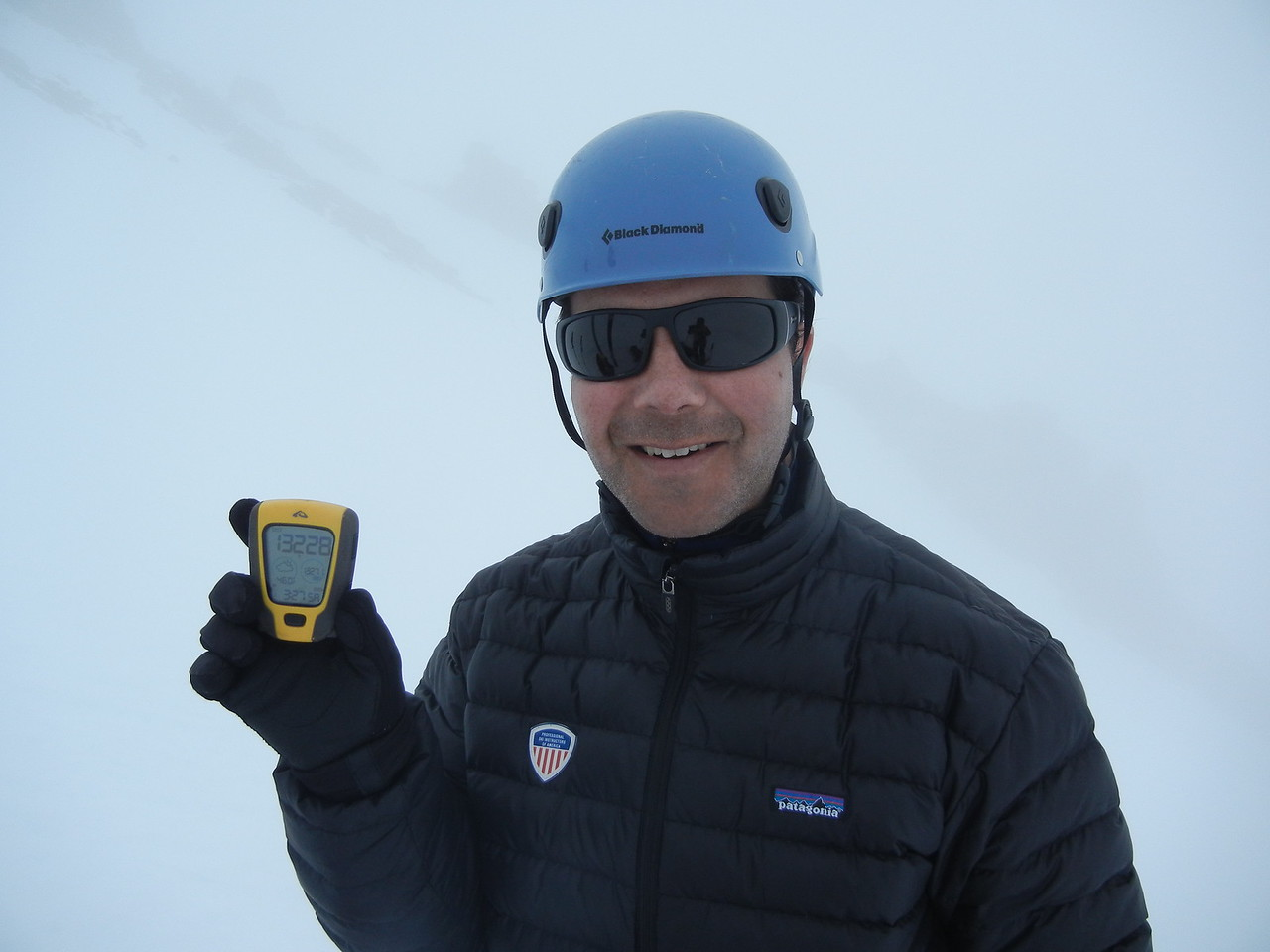 Kathy and I made it as high as 13,228 feet (the altimeter I am holding) before we turned around due to fog.