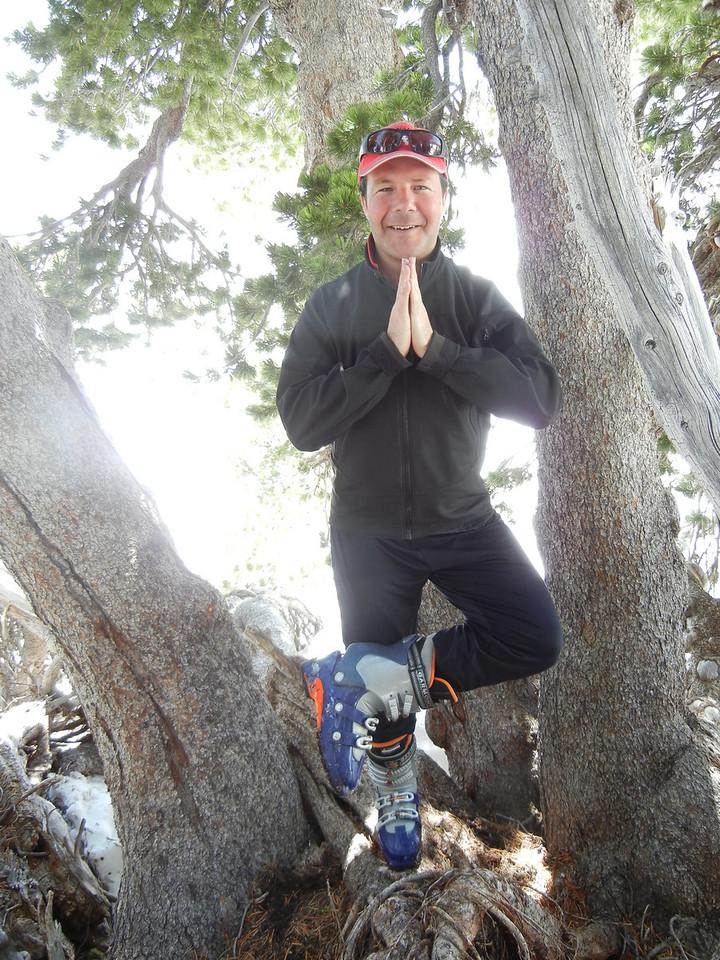 An impromptu yoga pose on Shasta.  Photo by Kathy Kohberger.