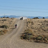 After meeting up with everyone at the Shell Gas Station in San Ysidro, we headed off to Cabezon peak.  Here is Lunchkit, and Retroone ( on the Hack) heading towards Cabezon.  The ride to San Ysidro was very cold.