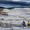Mountain biking, Iceland during winter