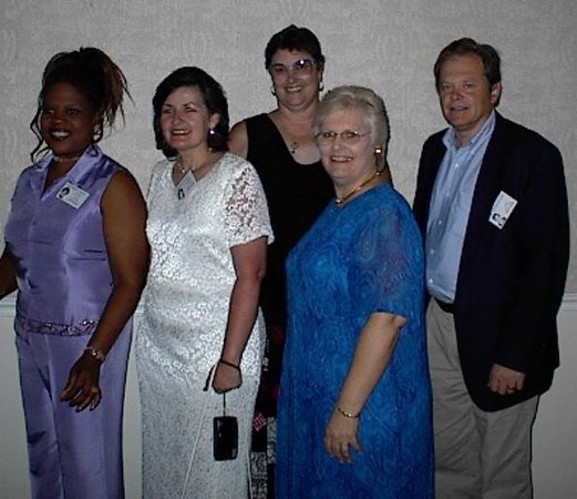 This picture is special because it's a reunion within a reunion. We were all classmates at Pasadena Christian School. Nolanda Smith, Mabel Tapia, Kathryn Rhinehart, Mary Chase, and Chip Ungerman. Mary is sister to Larry who was in our class, but is deceased.