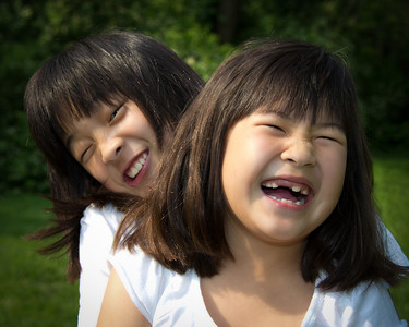 leah and sarah laughing close up-
