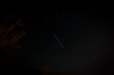 International Space Station (ISS) passes. This is how far across the sky it moved during a 30 second exposure.