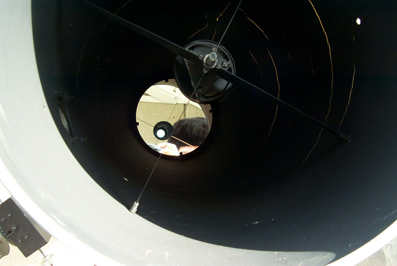 14.25 inch telescope mirror.  This image shows the huge 14 inch primary f-5 telescope mirror.  The large diagonal spider is also pictured.