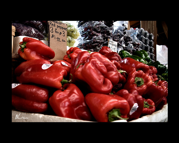 Day 101: Peppers<br /> <br /> Many local farms show up at the Flint Farmer's Market with their wares. They look delicious don't they?