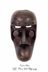 Grebo mask from Mali, carved in wood; small splits, scrapes and cracks attest to its age/use.