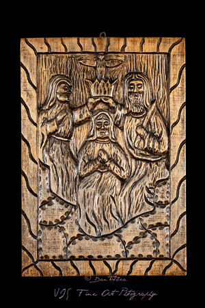 Coronation of the Virgin Naive Wood Bas Relief