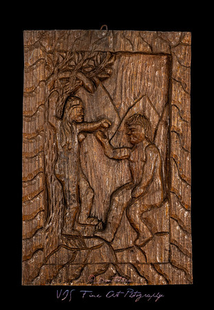 Adam and Eve Naive Wood Bas Relief
