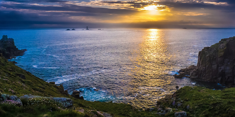 SUNSET AT LANDSEND, CORNWALL.