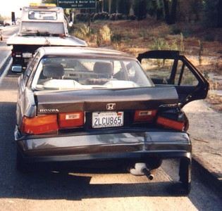 1988 Accord - totalled on SB 57 freeway, just before Labor Day, 1998.