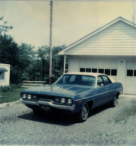 1971 Plymouth satellite in Alloway, NJ after Dad painted it for sale, 1979. From Polaroid.