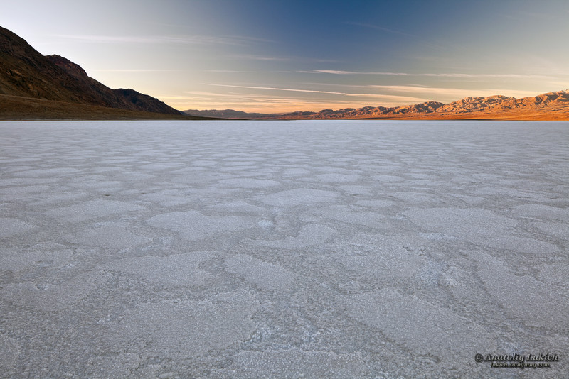 Badwater Basin, Death Valley National Park, California. Badwater Basin is the lowest point in North America, with an elevation of 282 ft (86 m) below sea level.