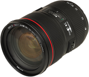 Canon's 24-70mm/2.8 L zoom lens is my prime choice for portrait wildlife and landscape photography.  It covers a wide-angle 24mm to normal range 70mm which makes it ideal for most scenic situations. It's sealed and gasketed well for dust and moisture.