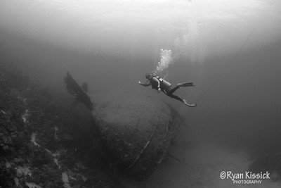 Another shot of Juliana exploring the wreck of the Hilma Hooker