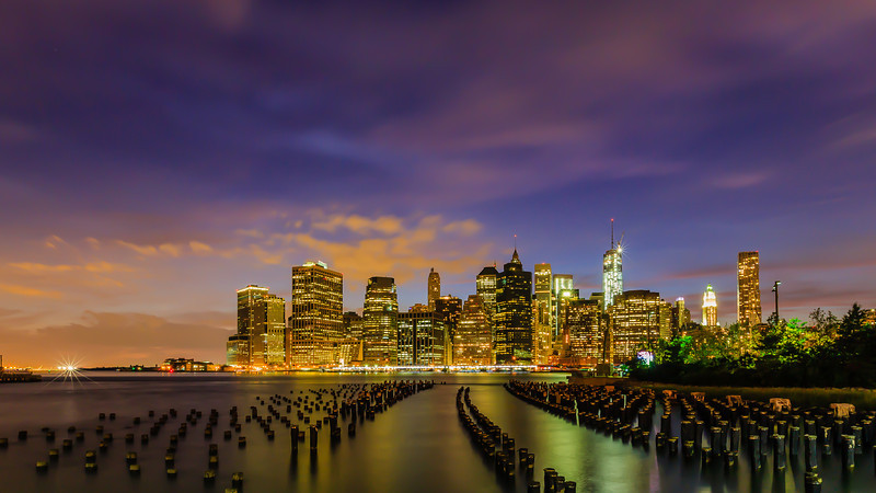 Manhattan skyline night view from Brooklyn<br /> Won Honorable Mention at New England Camera Club Council 2014 Open competition