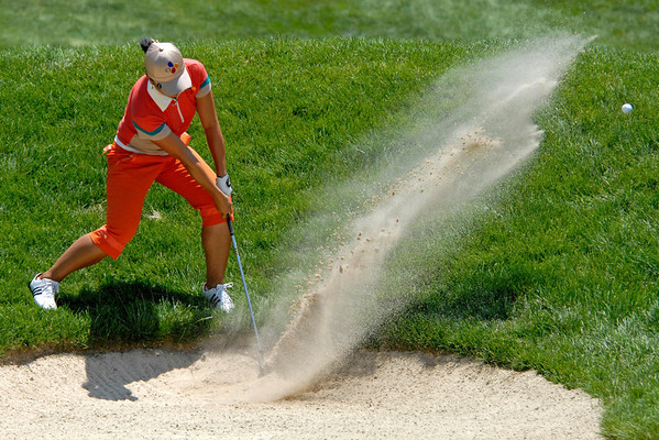 Se Ri Pak (plays) during the third round of the McDonald's LPGA Championship at the DuPont Country Club.