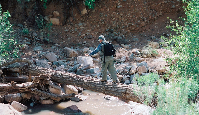 Me crossing a creek to see some pictographs.  In Uath