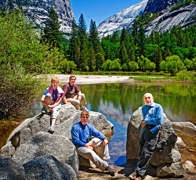 Group photo at Yosemite. My close photo friends. Jane Graziano, Ken Davin, Jane's husband Wes Chodos and me.  Image was taken with my camera on a tripod using a self timer.