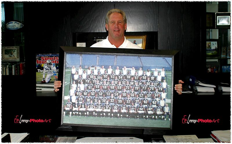 Coach John Fox of the Carolina Panthers proudly displays his favorite team photo from the 2003 Super Bowl Team that we turned into canvas art!  He loves it!...and is now a raving fan of my-PhotoArt!