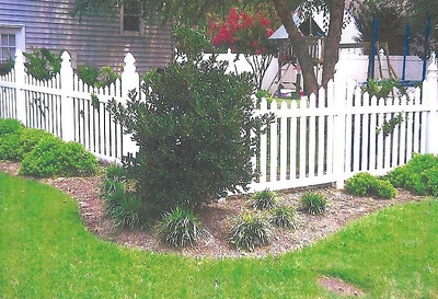 SAME PICKET FENCE 3 YEARS LATER.ONLY LANDSCAPE CHANGED